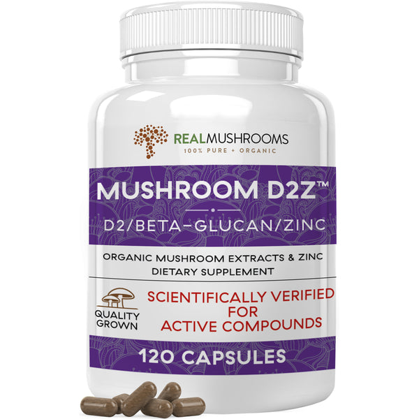 Immune supporting mushroom Beta-Glucans with Vitamin D and Zinc by Real Mushrooms