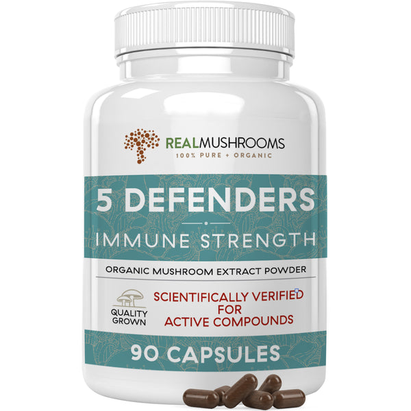 organic mushroom extract blend capsules with reishi, chaga, maitake, shiitake and turkey tail by Real Mushrooms