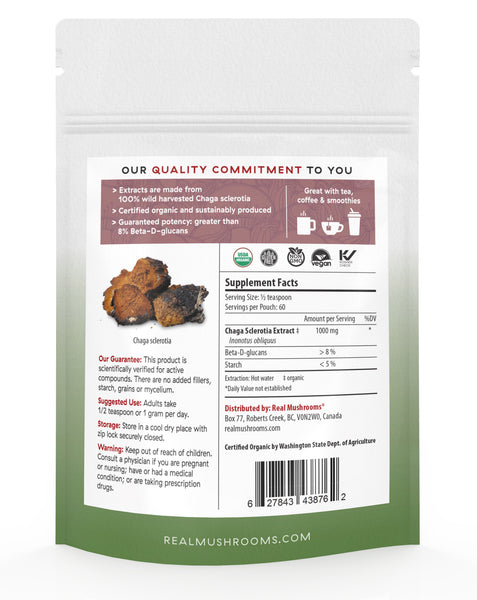 Organic Siberian Chaga Extract Powder – Bulk 60g Supplement