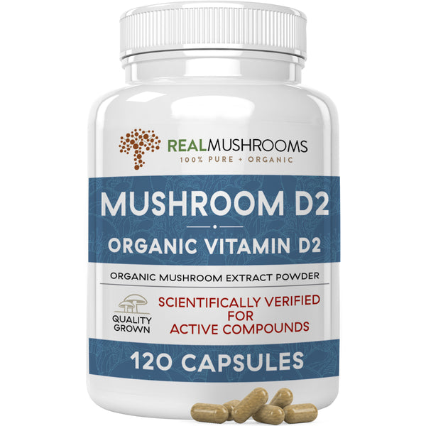 Vitamin D capsules made from organic mushrooms by Real Mushrooms
