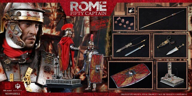 Rome Fifty Captain - Battlefield Edition - Bloody Red Shield w/Metal Sword & Sheath