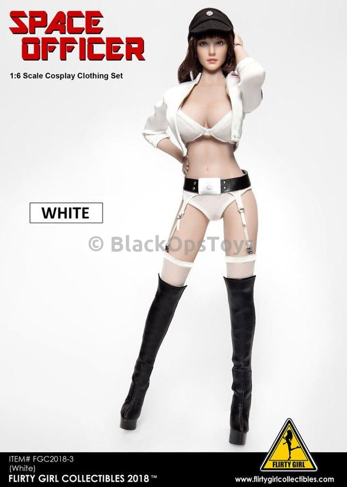Female Space Officer - White Stockings & Garter Belt