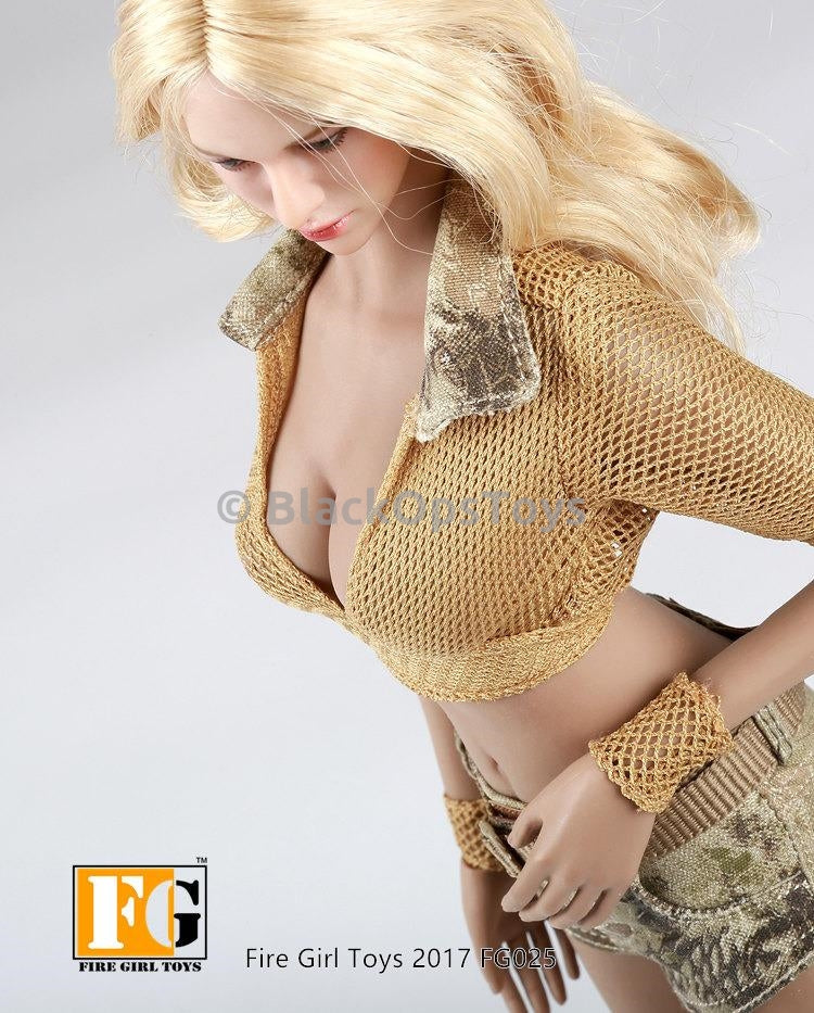Military Style Summer Outfit Female Kryptek Highlander Camo Mesh Crop Top Sand Version