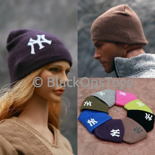 Knit OD Green Beanie Watch Cap With Yankees Logo (H)