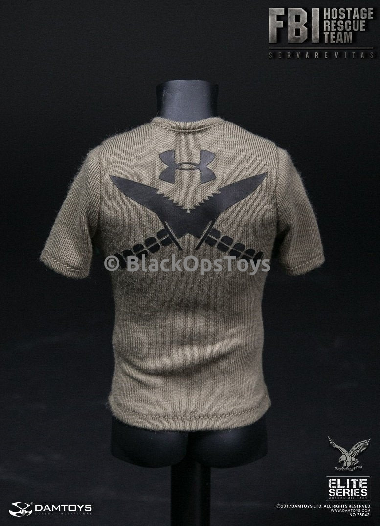 Dam Toys FBI HRT Agent Hostage Rescue Team Servarevitas Olive Green Tactical Under Armour T-Shirt