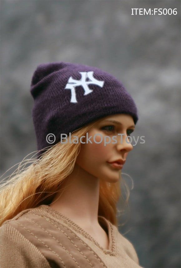 Knit Royal Blue Beanie Watch Cap With Yankees Logo (G)