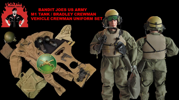 US Army M1-Tank Vehicle Crewman Uniform Set w/Male Body & Head Sculpt