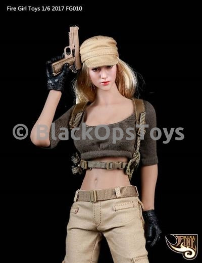 Female Tactical Gunner Clothing Set A Tan Combat Hat