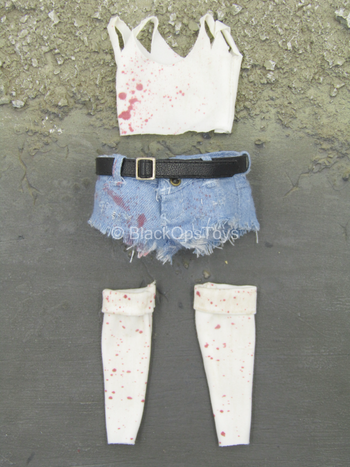 Nancy In Hell - Bloody Jean Shorts w/White Shirt & Socks Set