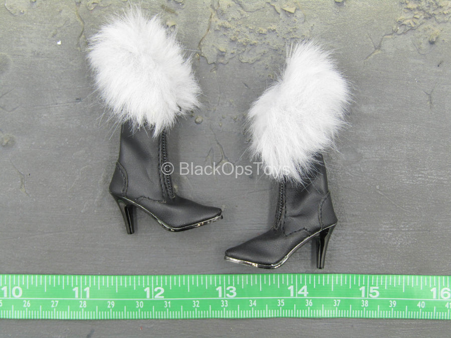 Catlady - Black Boots w/Fur-Like Detail (Foot Type)
