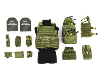 US Rangers - OD Green Plate Carrier Vest w/Pouch Set