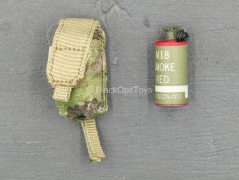 US Army - Red M18 Smoke Grenade w/Pouch