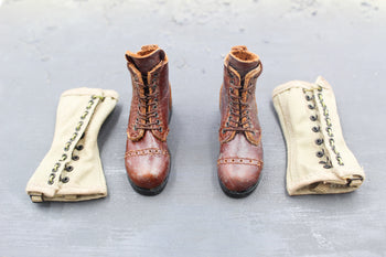 WWII - Infantry - Henry Kano - Leather Like Boots (Foot Type) Set