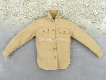 WWII - U.S. Army Infantry - Brown Button Up Long Sleeve Shirt