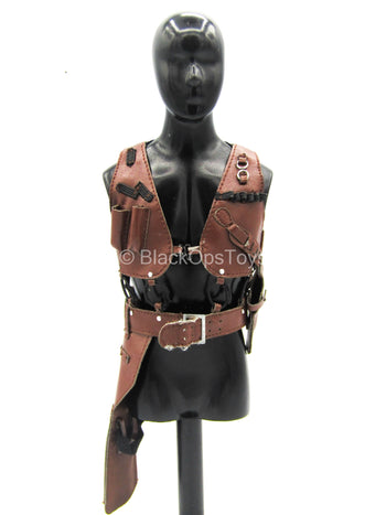 Léon The Professional - Brown Leather-Like Vest w/Drop Leg Holster