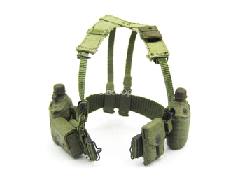 1/12 - Vietnam - US Infantry - Green Battle Belt w/Pouch Set