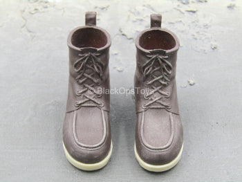 Brown High Top Shoes (Peg Type)