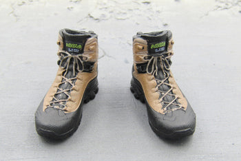 Tactical Female Shooter Black & Tan Combat Boots Peg Type
