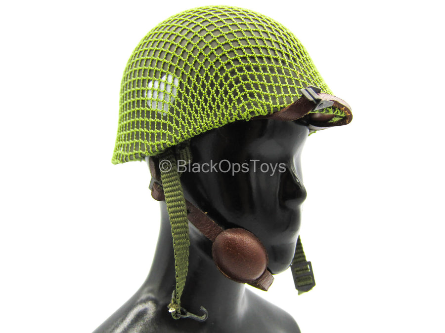 WWII - 101st Airborne Division - Green Metal Helmet