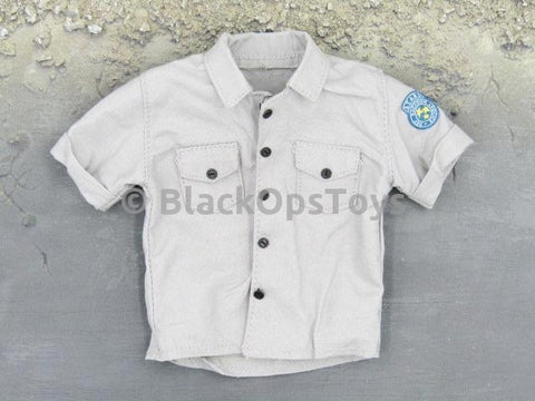 MomToys Zombie Hunter Resident Evil Light Grey Button Down T-Shirt