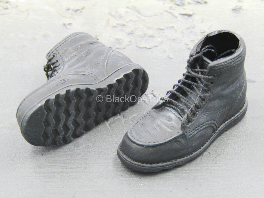 Black Leather Like Boots (Foot Type)