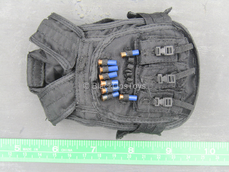 Black Combat Vest w/Blue Shotgun Shells (x8)