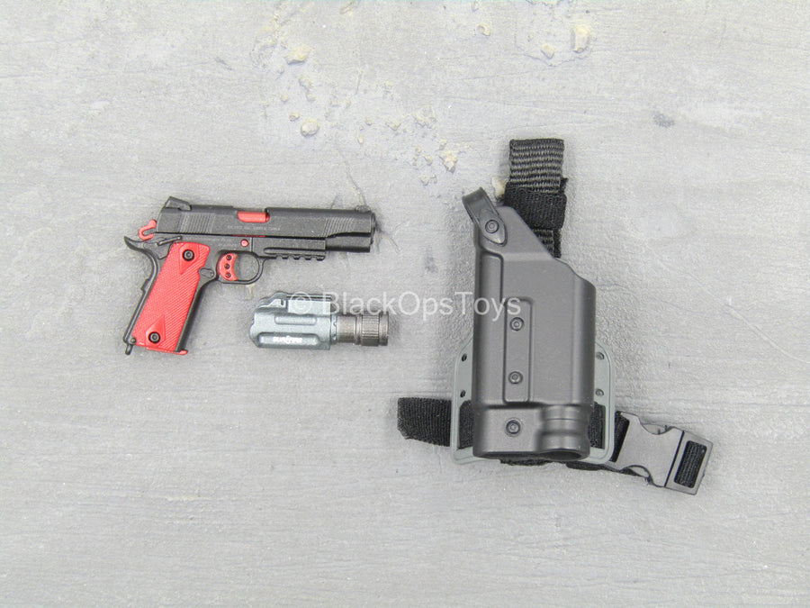 ZERT - Sniper Team - Black & Red 1911 Pistol w/Drop Leg Holster
