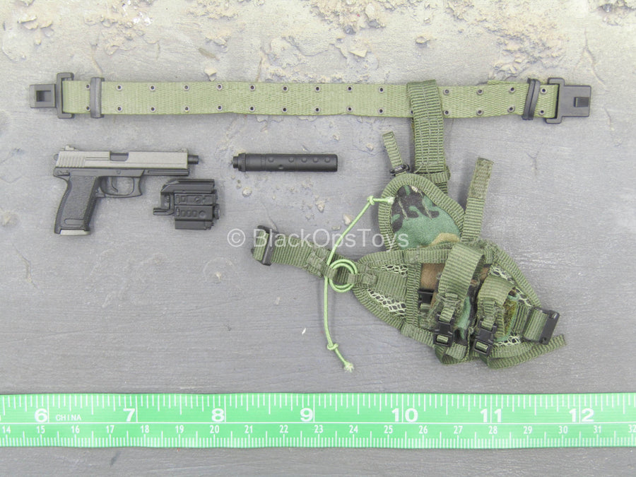 USMC Force Recon - Black Socom Pistol w/Drop Leg Pouch