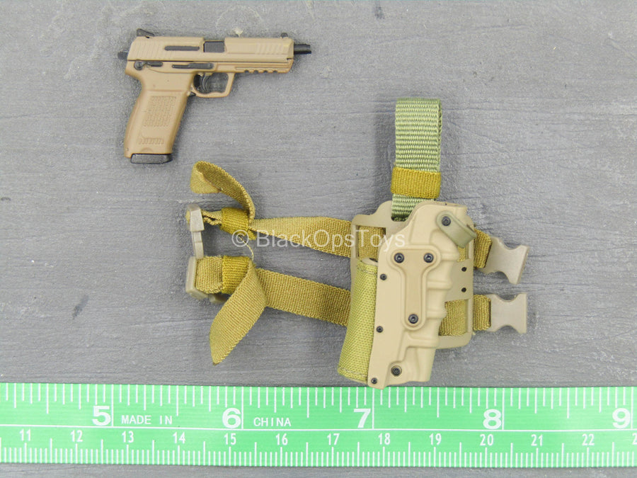 Agency Global Response Staff - Tan HK45 Pistol w/Drop Leg Holster