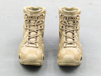 BOOT - Tan & Brown Combat Boots (Peg Type)