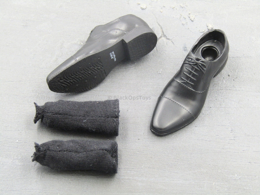 The Wolverine - Black Dress Shoes w/Sock Cuff (Peg Type)