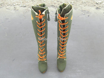 Serene Hound - Katherine - Orange & Green Knee High Boots (Peg Type)