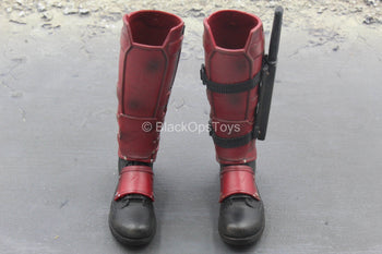 Deadpool - Red & Black Boots w/Knife & Sheath