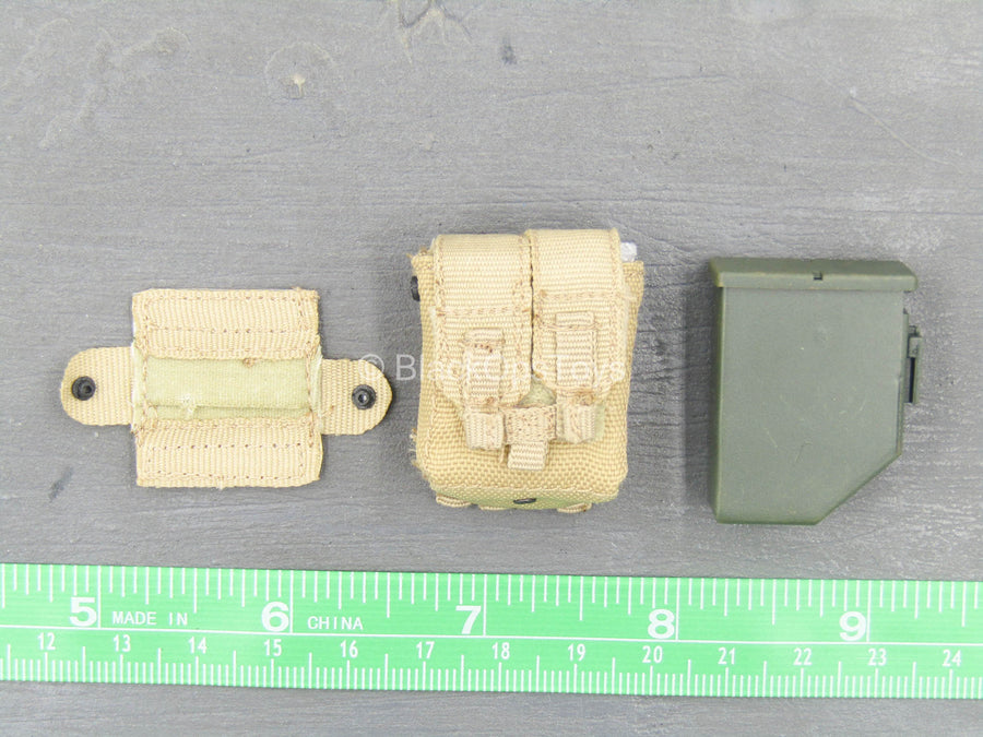 U.S. Navy Seal Team 3 - OD Green Ammo Drum w/Tan MOLLE Pouch