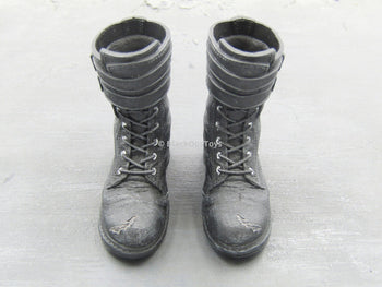 BLOODSHOT - Black Buckled Boots (Peg Type)