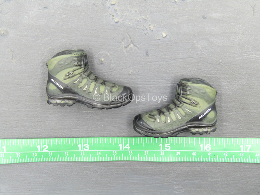 Phantom Black Muticam Version - Black & Green Combat Boots (Peg Type)