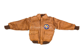 WWII - US 101st Airborne - Brown Leather Like Jacket w/Patch