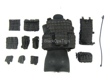 CIA SAD Night Ops - Black Plate Carrier Vest & Pouch Set
