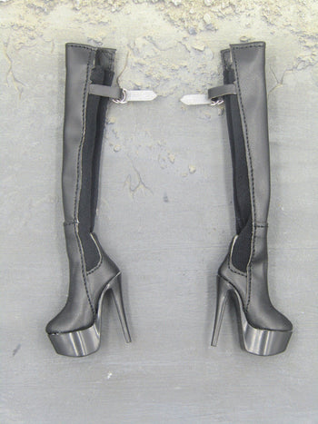 Female Space Officer - Black Stilletto Platform Boots (Foot Type)