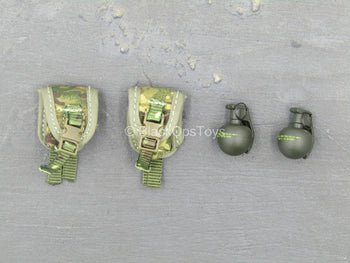 British Army - Afghanistan - OD Green Grenades w/MTP Camo Pouches