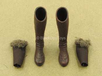 1/12 - Arhian City Of Horrors - Brown Boots w/Fur Tops (Peg Type)