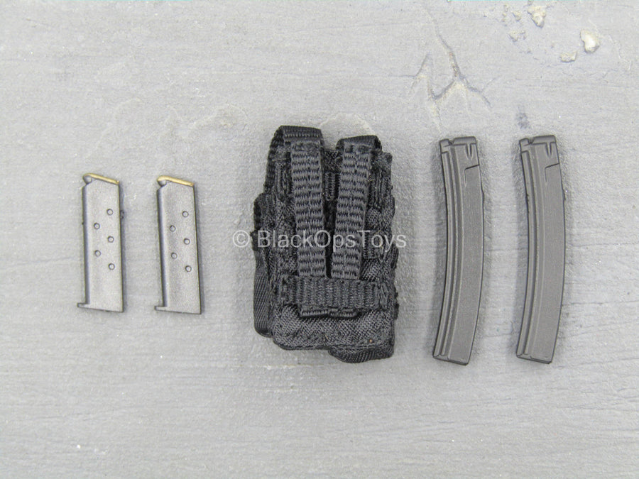LAPD SWAT - Black Dual Cell Stick Mag Pouch w/Magazine Set