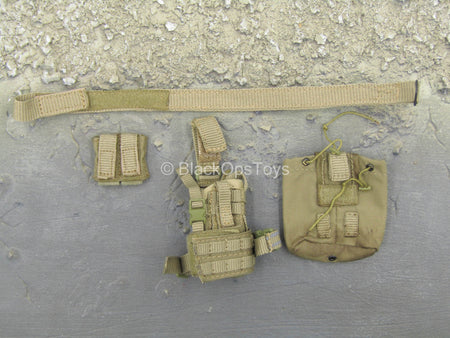 French Special Force - Tan Belt w/Drop Leg Holster & MOLLE Pouch Set