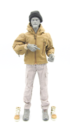 Tan Combat Coat w/Grey Pants & Black Beanie
