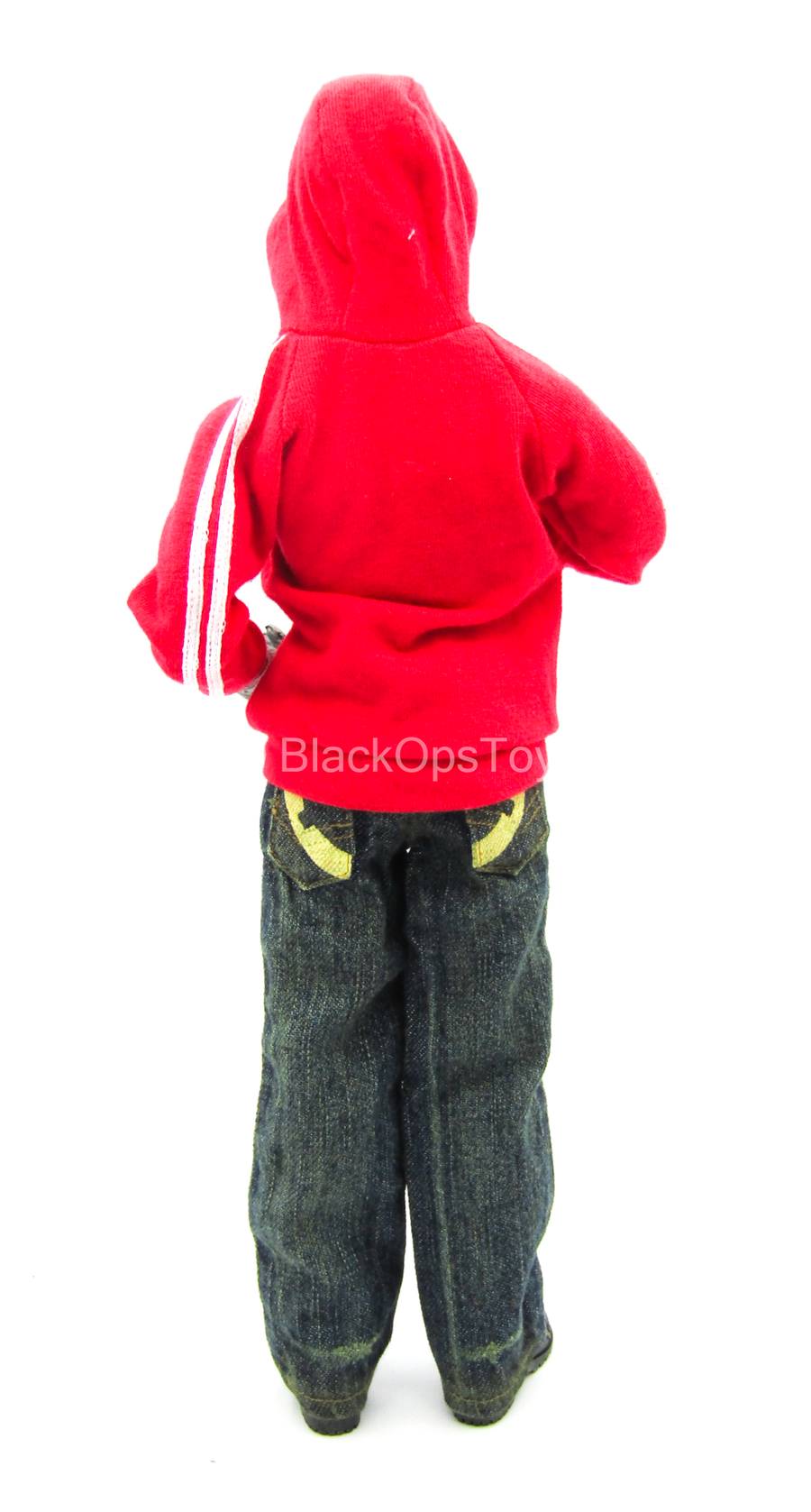 Red Hooded Jacket w/Denim Like Jeans, Face Mask & Boots