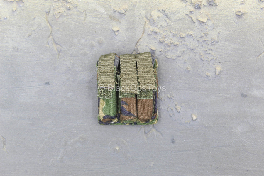 "Navy Seal ""Shark"" - Woodland Camo Triple Cell Stick Mag Pouch"