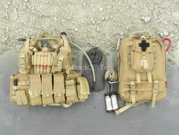 Tan Combat Vest & Medical Backpack Set