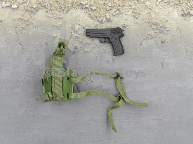 Barrack Sergeant PMC Machine Gunner Black Pistol w/Green Holster