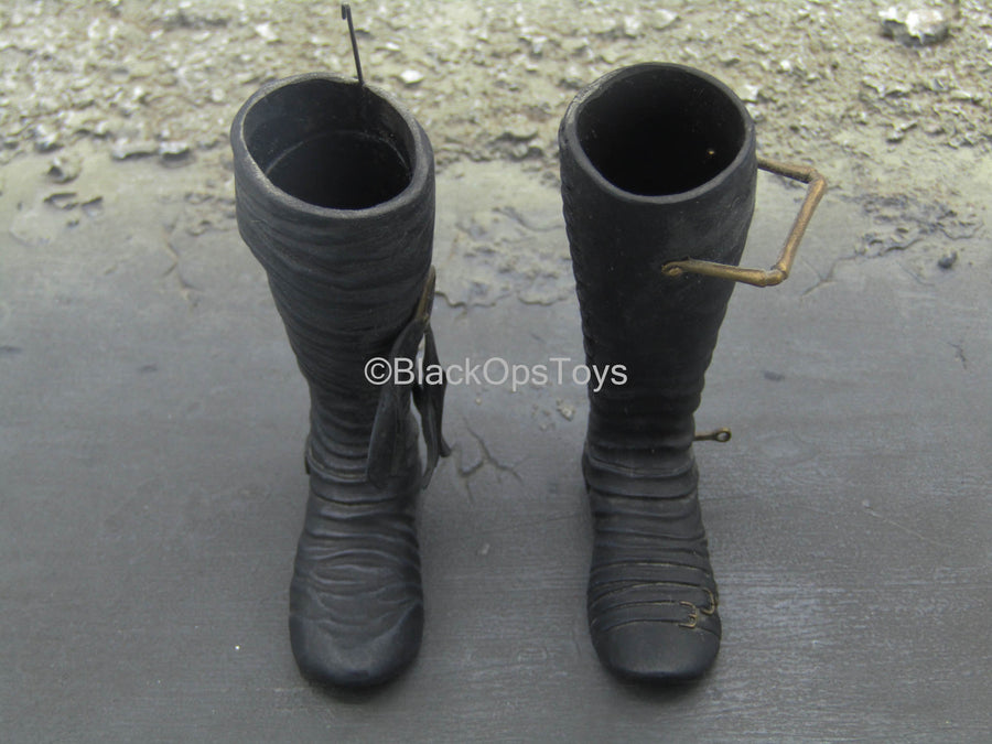 Edward Scissorhands - Black Knee High Boots (Peg Type)