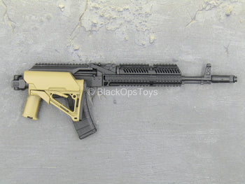 RIFLE - Black & Tan AK-47 w/Extendable Folding Stock